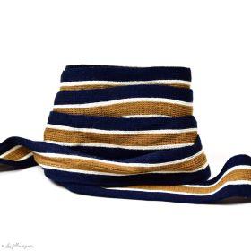 Ruban jersey à rayure sporty - Bleu marine, beige et blanc - 20mm - 1