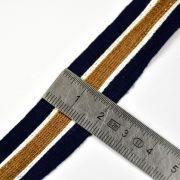 Ruban jersey à rayure sporty - Bleu marine, beige et blanc - 20mm - 2
