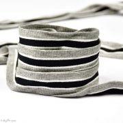 Ruban jersey à rayure sporty - Gris, Noir et blanc - 20mm - 1
