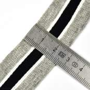 Ruban jersey à rayure sporty - Gris, Noir et blanc - 20mm - 2