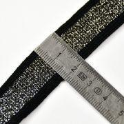 Ruban jersey à rayure sporty - Lurex sur fond noir - 20mm  - 3