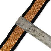 Ruban jersey à rayure sporty - Lurex sur fond noir - 20mm  - 4