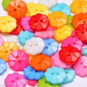 Boutons résine - Fleur - Lot de 50 - Multicolore  - 1