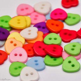 Boutons résine - Coeur - Lot de 50 - Multicolore  - 1