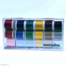 Assortiment de 18 bobiness de fil à coudre et broder Aerofil - Madeira ® - 200m Madeira ® - Fils à broder et à coudre - 1
