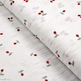 Tissu double gaze de coton brodée cerise - Blanc et rouge - Oekotex ® et GOTS® Autres marques - Tissus et mercerie - 1