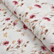 Tissu double gaze de coton fleurs vintage - Ecru, tons ocre, terracotta - Oekotex ® et GOTS ®