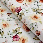 Tissu double gaze de coton fleurs vintage - Ecru, tons ocre, terracotta - Oekotex ® et GOTS ® Autres marques - Tissus et merceri
