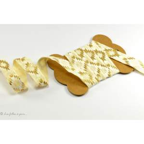 Biais élastique pré-plié motif astèque - Ecru, blanc et doré - 16mm