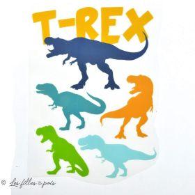Transfert T-Rex - Bleu, vert et ocre - Thermocollant  - 1