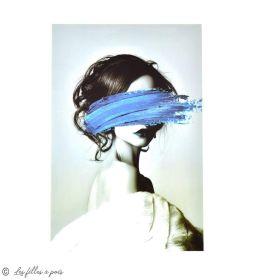 Transfert cliché femme et peinture - Gris et bleu - Thermocollant  - 1