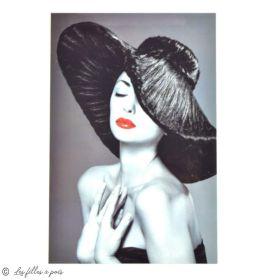 Transfert cliché femme chapeau - Noir, blanc et rouge - Thermocollant  - 1