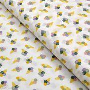Tissu coton motif glaces - Blanc et multicolore - Oeko-Tex ®