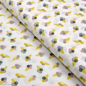 Tissu coton motif glaces - Blanc et multicolore - Oeko-Tex ® Autres marques - Tissus et mercerie - 1