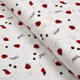 Tissu jersey coton motif coccinelle - Blanc, rouge et noir - Oeko-Tex ® Autres marques - Tissus et mercerie - 1