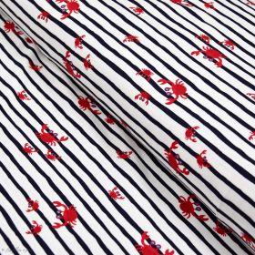 Tissu jersey coton motif rayures et crabes esprit marinière  - Blanc, bleu et rouge - Oeko-Tex ® Autres marques - Tissus et merc