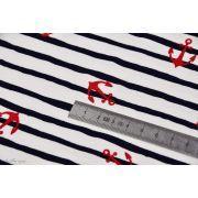 Tissu jersey coton motif rayures et ancres esprit marinière  - Blanc, bleu et rouge - Oeko-Tex ® Autres marques - Tissus et merc