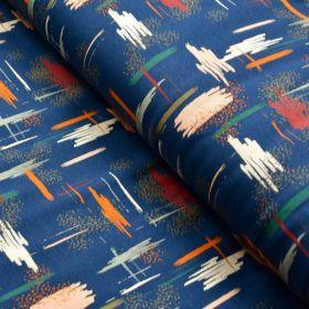 Tissu french terry coton impression peinture - Bleu marine et tons ocre, nude - Oeko-Tex ® et GOTS Autres marques - Tissus et m