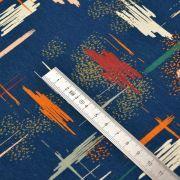 Tissu sweat molletonné coton impression peinture - Bleu marine et tons ocre, nude - Oeko-Tex ® et GOTS Autres marques - Tissus