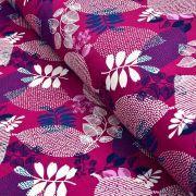 Tissu sweat molletonné coton motifs feuilles - Violet pourpre et bleu marine - Oeko-Tex ® Gots ® Autres marques - Tissus et merc