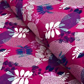 Tissu french terry coton motifs feuilles - Violet pourpre et bleu marine - Oeko-Tex ® Gots ® Autres marques - Tissus et mercerie