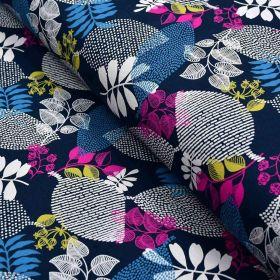 Tissu sweat molletonné coton motifs feuilles - Bleu marine et violet pourpre - Oekotex ® et Gots ® Autres marques - Tissus et me