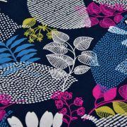 Tissu french terry coton motifs feuilles - Bleu marine et violet pourpre - Oekotex ® et Gots ® Autres marques - Tissus et mercer