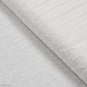 Tissu coton plumetis lurex - Blanc et argenté Autres marques - Tissus et mercerie - 1