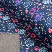 Tissu jersey sweat digital coton motif fleurs effet jeans - Bleu jeans et rose - Oekotex ® Autres marques - Tissus et mercerie -