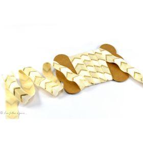 Biais élastique pré-plié motif chevron - Doré - 16mm
