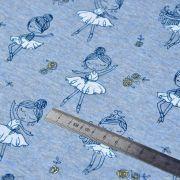 Tissu jersey sweat digital coton glitter motif fillettes - Bleu gris et ocre - Oekotex ® Autres marques - Tissus et mercerie - 6