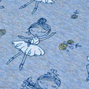Tissu jersey sweat digital coton glitter motif fillettes - Bleu gris et ocre - Oekotex ® Autres marques - Tissus et mercerie - 4