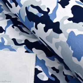 Tissu jersey sweat digital coton motif camouflage - Bleu - Oekotex ® Autres marques - Tissus et mercerie - 1