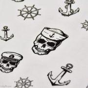 Tissu jersey coton motif tête de mort pirate - Blanc et noir - Oeko-Tex ® Autres marques - Tissus et mercerie - 2