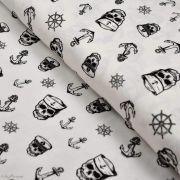 Tissu jersey coton motif tête de mort pirate - Blanc et noir - Oeko-Tex ®