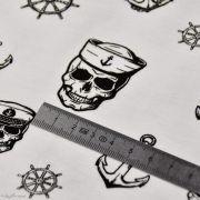 Tissu jersey coton motif tête de mort pirate - Blanc et noir - Oeko-Tex ® Autres marques - Tissus et mercerie - 5