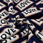 Tissu jacquard motif LOVE lurex - Bleu nuit, écru et cuivré - Bio - ALB Stoffe ® - Hamburger Liebe ® ALBStoff feat Hamburger lie