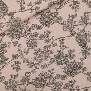 "Tissu french terry coton ""CHERRY BLOSSOM"" motif fleurs - Rose et noir - Oeko-Tex ® - See You At Six ® See You At Six ® - Tissus"