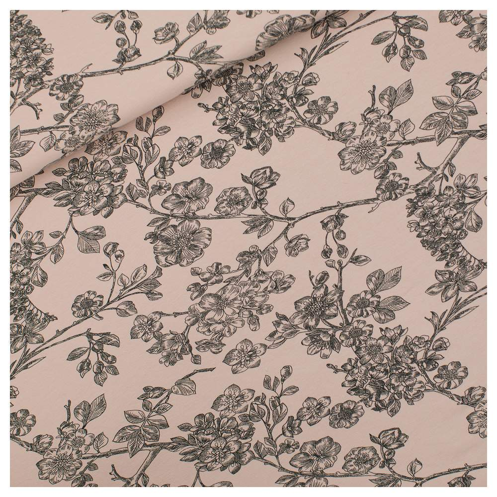 """Tissu french terry coton """"CHERRY BLOSSOM"""" motif fleurs - Rose et noir - Oeko-Tex ® - See You At Six ® See You At Six ® - Tissus"""