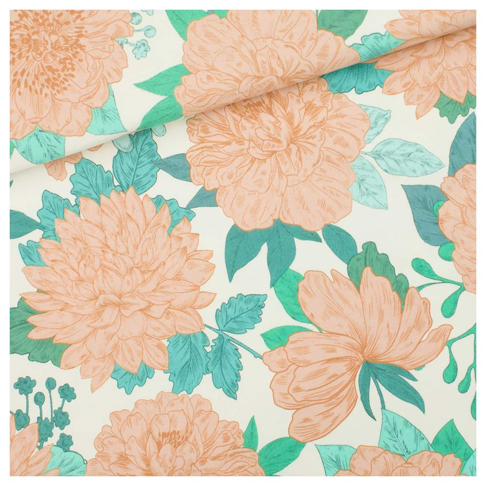 """Tissu french terry coton """"PEONIE"""" motif fleurs - Vert, Ecru et corail -  Oeko-Tex ® - See You At Six ® See You At Six ® - Tissus"""