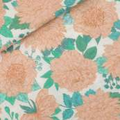 "Tissu double gaze de coton ""PEONIE"" motif fleurs - Ecru - Oeko-Tex ® - See You At Six ® See You At Six ® - Tissus Oekotex - 1"