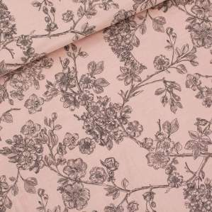 "Tissu double gaze de coton ""CHERRY BLOSSOM"" motif fleurs - Rose -  Oeko-Tex ® - See You At Six ® See You At Six ® - Tissus Oekot"