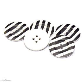 Bouton rond - Rayures - Noir et blanc - 50mm - Lot de 2 - 1