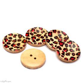 Bouton rond - léopard - 25mm - Lot de 6 - 1