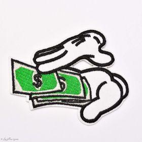 Écusson brodé Dollars - Blanc, noir et vert - 1