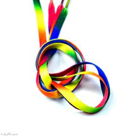 Lacets plat arc -en-ciel - Multicolore - Paire - 110cm  - 1