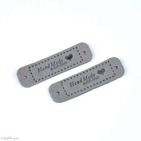 "Etiquette simili cuir ""Hand Made with Love"" - 55mm - Lot de 2  - 6"