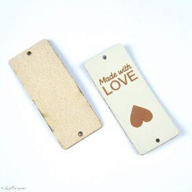 "Etiquette simili cuir ""LOVE"" - 50mm - 1"