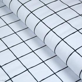 "Tissu french terry coton motif grille ""Grid"" - Blanc - Lillestoff ® Lillestoff ® - Tissus Bio - 1"