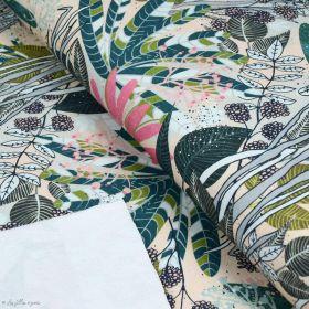 """Tissu french terry coton motif fleurs """"Pflanzendickicht"""" - Tons rose et beige - Lillestoff ® Lillestoff ® - Tissus Bio - 1"""